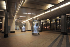 Metro station Vorobyovy Gory in Moscow by night Stock Image