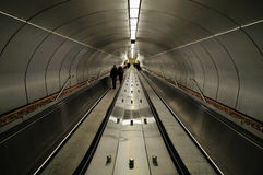 Metro Station Walkway. A moving walkway at Beaudry metro station in Montreal stock photography