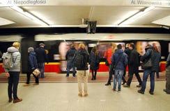 Metro Station. Warsaw  , platform, light platforms, railway station,  suburban train Stock Image
