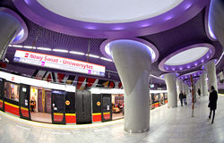 Metro station in Warsaw, Poland Royalty Free Stock Photography