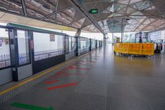 Metro stations in Singapore That is being maintained. Therefore there are signs blocking some areas royalty free stock images