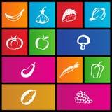 Metro stijlfruit en plantaardige pictogrammen Stock Afbeeldingen