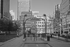 Metro Stop in Montreal. The Victoria Square metro stop in Montreal royalty free stock photo