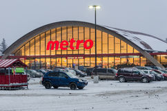 Metro Store during a snowfall in Toronto Stock Photography