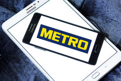 Metro stores logo. Logo of the international chain of convenience stores metro on samsung mobile phone a5 Royalty Free Stock Photo