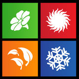Metro style four seasons icons. Vector illustration of metro style four seasons icons Stock Photos