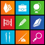 Metro style school objects. Vector illustration of metro style school objects Stock Image