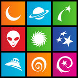 Metro style space icons. Vector illustration of metro style space icons Stock Images