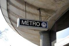Metro/Subway. Signs Metro of Montreal, canada royalty free stock image