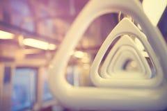 Metro subway handrail. Inside the car stock image