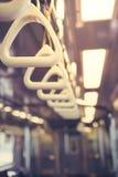 Metro subway handrail. Inside the car royalty free stock photos