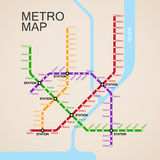 Metro or subway map design Stock Images