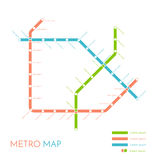 Metro or subway map design template. city transportation scheme concept. Vector illustration Royalty Free Stock Photos