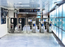 Metro subway station interior. PARIS - NOVEMBER 18, 2014: Metro subway station interior royalty free stock photos