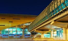 Metro subway station at night in Dubai, UAE. Royalty Free Stock Photos