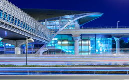 Metro subway station at night in Dubai, UAE. Royalty Free Stock Photography