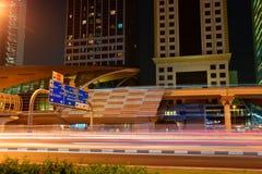 Metro subway station at night in Dubai, UAE. Stock Images
