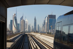 Metro subway tracks in the united arab emirates Royalty Free Stock Photo