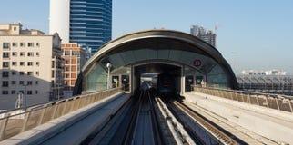Metro subway tracks in the united arab emirates. DUBAI, UAE - NOVEMBER 18: Dubai Metro as world's longest fully automated metro network (75 km) on November 18 Stock Photo