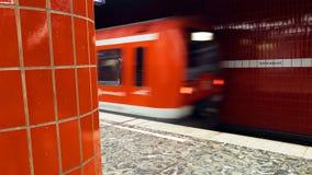 Metro subway train leaves the station. Hamburg, Germany - October, 10, 2016: Metro subway train leaves the station. European public transportation system Stock Photography