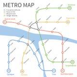 Metro subway train map. Vector urban transportation concept. Underground railway transportation and way under river illustration Stock Photography