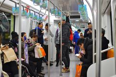 Subway Metro train that run underground  in Shanghai China. The metro subway trains offer Shanghainese and foreigners a very cheap travelling across Shanghai Royalty Free Stock Photo