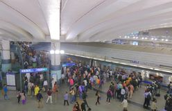 Metro subway underground New Delhi India. People travel at Rajiv Chowk metro station New Delhi India stock photography