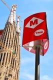 Metro teken in Barcelona royalty-vrije stock afbeelding