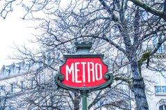 Metro teken in Parijs Stock Afbeelding