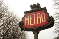 Metro teken in Parijs Royalty-vrije Stock Foto