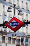 Metro Teken in Puerta del Sol Square, Madrid Stock Afbeelding