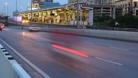 Metro Traffic in Bangkok Thailand time lapse. Bts Skytrain Traffic in Bangkok Thailand time lapse stock footage