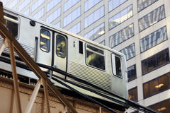 Metro train. In Chicago downtown royalty free stock photos