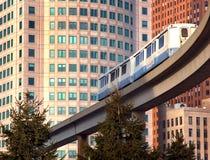 Metro Train. A public metro train traveling in downtown Detroit, USA royalty free stock image