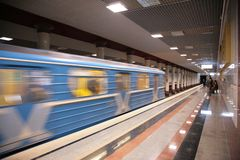 Metro train arrival. The metro train arrival, in motion Stock Photography