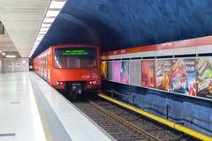 Metro train arrival to Helsinki Stock Image