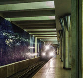 Metro train arrives at the station. Motion blur. Transportation, subway Stock Photography