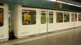 Metro train arriving in central Marseilles stock video
