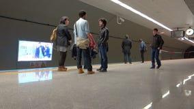 Metro train arriving in Istanbul stock video