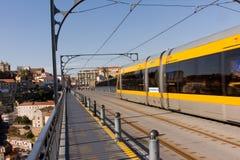 Metro train on the bridge Stock Image