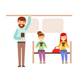 Metro Train Car With People Looking At Their Smartphones, Person Being Online All The Time Obsessed With Gadget. Modern Technology Devices And Internet Life royalty free illustration