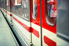 Metro train. Closed in perspective view Royalty Free Stock Photo