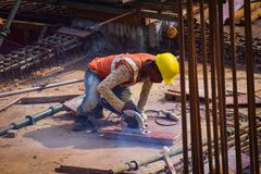 Metro train construction site in kochi stock photo