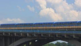 Metro train crosses the bridge across the Dnieper River in Kiev, Ukraine. Metro train crosses the bridge across the Dnieper River in Kiev. Ukraine stock video
