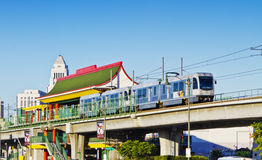 Metro Train Departing Chinatown Station Stock Photography