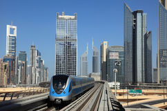 Metro train downtown in Dubai Royalty Free Stock Photography