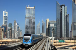 Metro train downtown in Dubai Royalty Free Stock Image