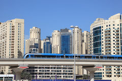 Metro train downtown in Dubai royalty free stock images