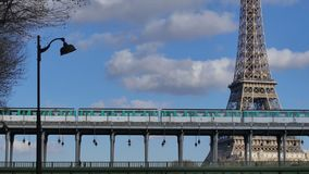 Metro Train-Eiffel Tower-Paris stock video footage