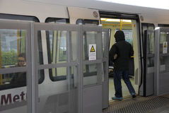 METRO TRAIN EXSTRA SAFETY AT KASTRUP METRO STATION Stock Photo